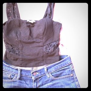 Tops - NWT black lace crop top with padding
